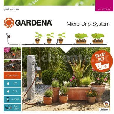 Štartovacia súprava kvapkovej závlahy Gardena pre rastliny v črepníkoch a hrantíkoch so zavlažovacím počítačom